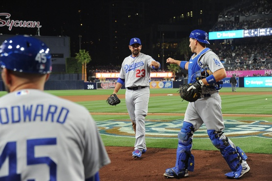 Los Angeles Dodgers Adrian Gonzalez and A.J.Ellis high five during game against the San Diego Padres Wednesday, April 6, 2016 at Petco Park in San Diego,California. The Dodgers beat the Padres
