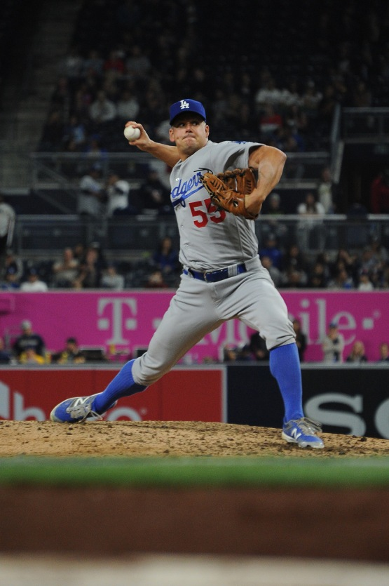 Los Angeles Dodgers Joe Blanton pitches the ninth against the San Diego Padres Wednesday, April 6, 2016 at Petco Park in San Diego,California. The Dodgers beat the Padres