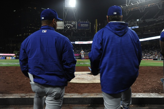 Los Angeles Dodgers Dave Roberts and Rick Honeycutt watch Joe Blanton finish the 9th against the San Diego Padres Wednesday, April 6, 2016 at Petco Park in San Diego,California. The Dodgers beat the Padres