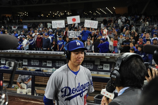 Los Angeles Dodgers Kenta Maeda does interview after win against the San Diego Padres Wednesday, April 6, 2016 at Petco Park in San Diego,California. The Dodgers beat the Padres