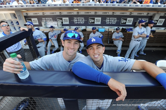 Los Angeles Dodgers Charlie Culbertson and Austin Barnes pose prior to game against the San Diego Padres Monday, April 4, 2016 at Petco Park in San Diego,California. The Dodgers beat the Padres 15-0