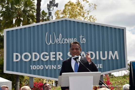 Los Angeles Councilman Gil Cedillo speaks during the Vin Scully Avenue ceremony Monday, April 11, 2016 at Dodger Stadium in Los Angeles,California.