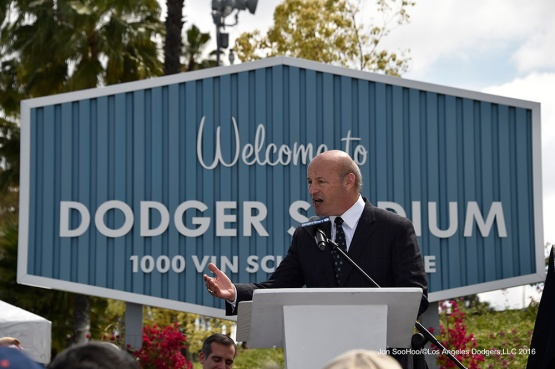 Dodgers Stan Kasten speaks during the Vin Scully Avenue Dedication Monday, April 11, 2016 at Dodger Stadium in Los Angeles,California.