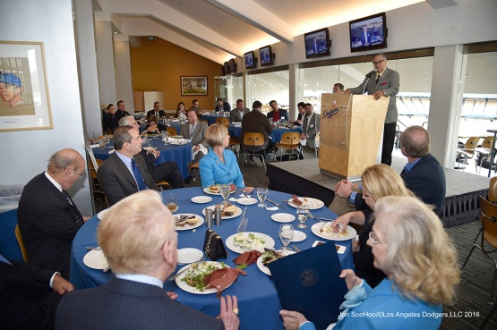 Jaime Jarrin speaks during the Vin Scully Avenue Dedication Monday, April 11, 2016 at Dodger Stadium in Los Angeles,California.