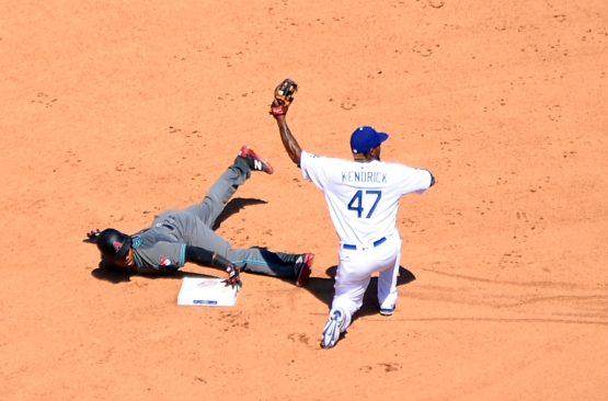 The Diamondbacks' Jean Segura is caught stealing second base in the fifth inning by Howie Kendrick.