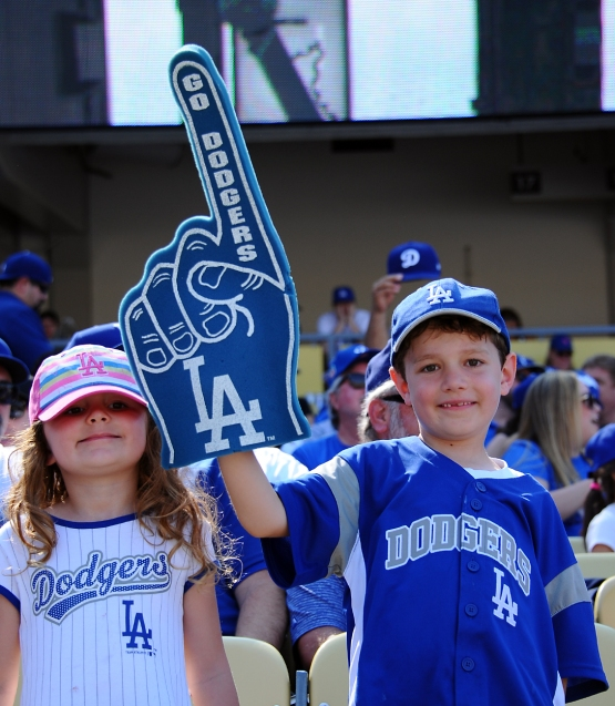 Two young fans show their support for the Dodgers.