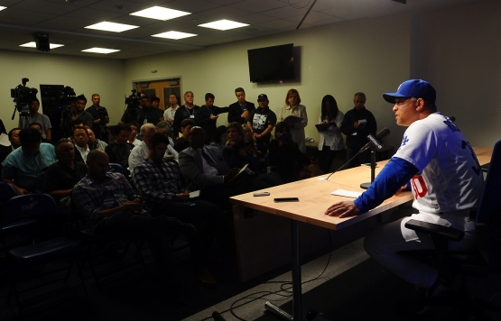 Dodgers manger Dave Roberts addresses the media after the game.
