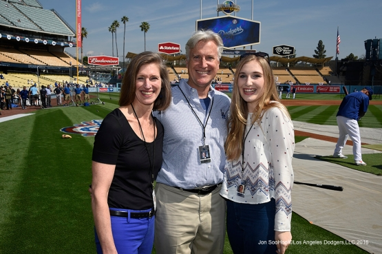 The Walter Family prior to Los Angeles Dodgers game against the Arizona Diamondbacks Tuesday, April 12, 2016 at Dodger Stadium.