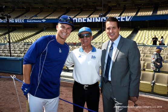 Joc Pederson, Former UCLA Coach Gary Adams and Michael Young pose prior to Los Angeles Dodgers game against the Arizona Diamondbacks Tuesday, April 12, 2016 at Dodger Stadium.