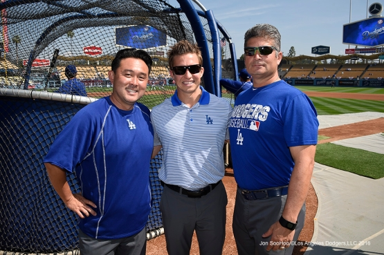 Trainers Possum Nakajima, Thomas Albert and Nathan Lucero pose prior to Los Angeles Dodgers game against the Arizona Diamondbacks Tuesday, April 12, 2016 at Dodger Stadium.