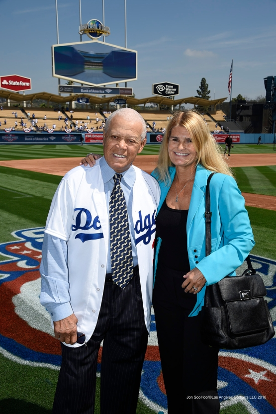 Mr and Mrs Maury Wills pose prior to Los Angeles Dodgers game against the Arizona Diamondbacks Tuesday, April 12, 2016 at Dodger Stadium.