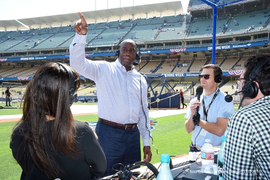 Los Angeles Dodgers Earvin Magic Johnson on the radio prior to game against the Arizona Diamondbacks Tuesday, April 12, 2016 at Dodger Stadium.