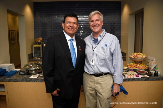 Fernando Valenzuela and Mark Walter pose prior to Los Angeles Dodgers game against the Arizona Diamondbacks Tuesday, April 12, 2016 at Dodger Stadium.