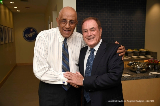 Don Newcombe and Al Michaels pose prior to Los Angeles Dodgers game against the Arizona Diamondbacks Tuesday, April 12, 2016 at Dodger Stadium.