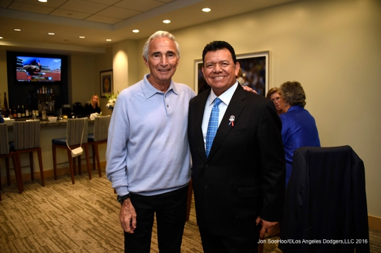 Sandy Koufax and Fernando Valenzuela pose prior to Los Angeles Dodgers game against the Arizona Diamondbacks Tuesday, April 12, 2016 at Dodger Stadium.