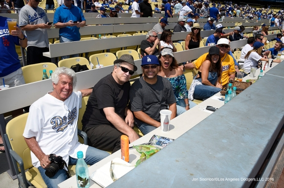 Great Los Angeles Dodger fans pose during game against the Arizona Diamondbacks Tuesday, April 12, 2016 at Dodger Stadium.