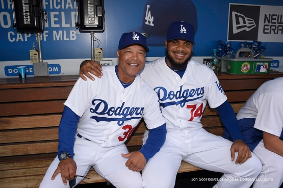 Dave Roberts poses with Kenley Jansen prior to Los Angeles Dodgers game against the Arizona Diamondbacks Tuesday, April 12, 2016 at Dodger Stadium.