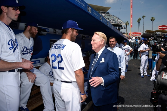 Clayton Kershaw and Vin Scully in the dugout prior to game against the Arizona Diamondbacks Tuesday, April 12, 2016 at Dodger Stadium.