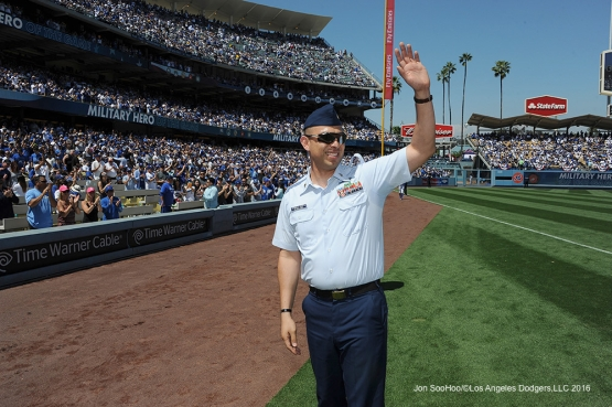 Military Hero of the Game Retired US Army Sergeant, Eddie Arambula waves to the crowd Los Angeles Dodgers during game against the Arizona Diamondbacks Tuesday, April 12, 2016 at Dodger Stadium.