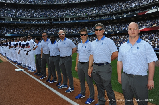 Los Angeles Dodgers training staff prior to game against the Arizona Diamondbacks Tuesday, April 12, 2016 at Dodger Stadium.