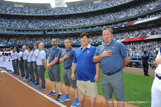Los Angeles Dodgers Clubhouse Staff prior to game against the Arizona Diamondbacks Tuesday, April 12, 2016 at Dodger Stadium.