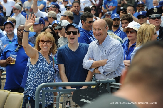 The Kastens prior to game against the Arizona Diamondbacks Tuesday, April 12, 2016 at Dodger Stadium.