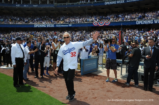 Los Angeles Dodgers Sandy Koufax is introduced prior to game against the Arizona Diamondbacks Tuesday, April 12, 2016 at Dodger Stadium.