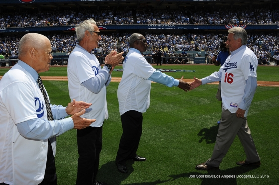 Los Angeles Dodgers Maury Wills, Sandy Koufax, Al Downing and Rick Monday prior to game against the Arizona Diamondbacks Tuesday, April 12, 2016 at Dodger Stadium.