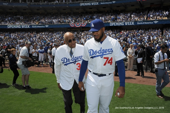 Los Angeles Dodgers Don Newcombe and Kenley Jansen prior to game against the Arizona Diamondbacks Tuesday, April 12, 2016 at Dodger Stadium.