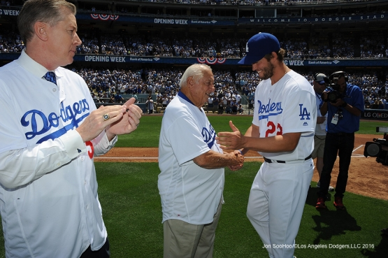 Los Angeles Dodgers Orel Hershiser, Tommy Lasorda and Clayton Kershaw prior to game against the Arizona Diamondbacks Tuesday, April 12, 2016 at Dodger Stadium.