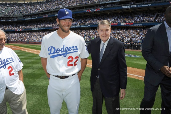 Clayton Kershaw and Peter Omalley prior to game against the Arizona Diamondbacks Tuesday, April 12, 2016 at Dodger Stadium.