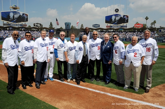 Vin Scully poses with pregame participants before game against the Arizona Diamondbacks Tuesday, April 12, 2016 at Dodger Stadium.