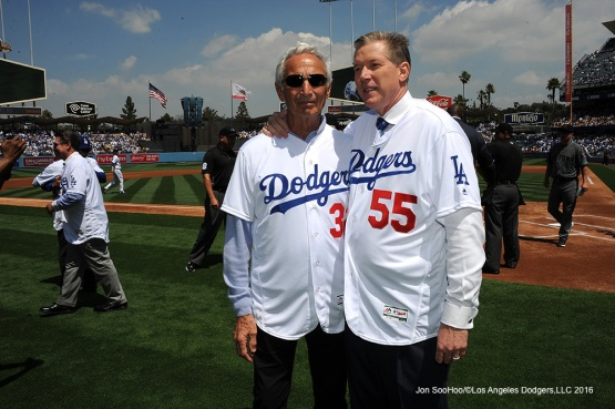 Los Angeles Dodgers Sandy Koufax and Orel Hershiser pose prior to game against the Arizona Diamondbacks Tuesday, April 12, 2016 at Dodger Stadium.