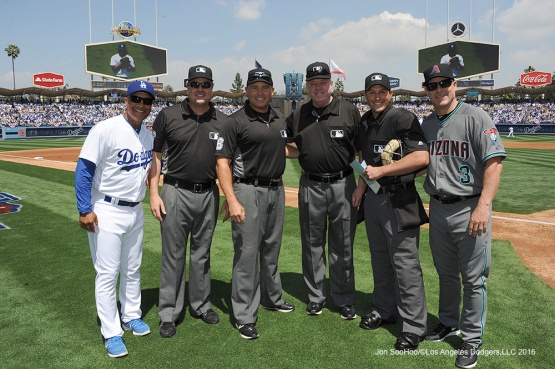 Umpires pose before Los Angeles Dodgers game against the Arizona Diamondbacks Tuesday, April 12, 2016 at Dodger Stadium.