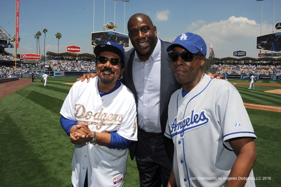 George Lopez, Earvin Johnson and Arsenio Hall pose prior to game against the Arizona Diamondbacks Tuesday, April 12, 2016 at Dodger Stadium.