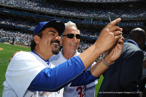 George Lopez and Sandy Koufax do a selfie prior to Los Angeles Dodgers game against the Arizona Diamondbacks Tuesday, April 12, 2016 at Dodger Stadium.