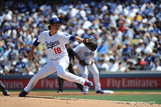 Los Angeles Dodgers Kenta Maeda pitches during game against the Arizona Diamondbacks Tuesday, April 12, 2016 at Dodger Stadium.