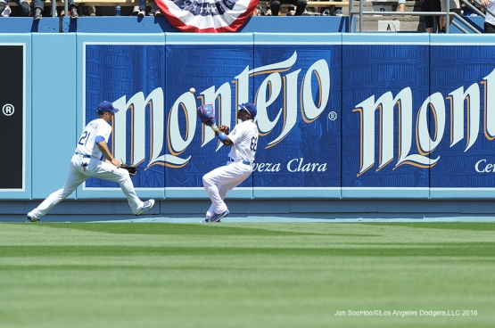 Los Angeles Dodgers Yasiel Puig fields ball during game against the Arizona Diamondbacks Tuesday, April 12, 2016 at Dodger Stadium.