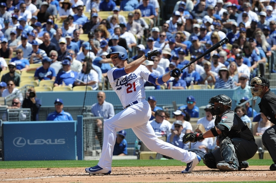 Los Angeles Dodgers Trayce Thompson hits during game against the Arizona Diamondbacks Tuesday, April 12, 2016 at Dodger Stadium.