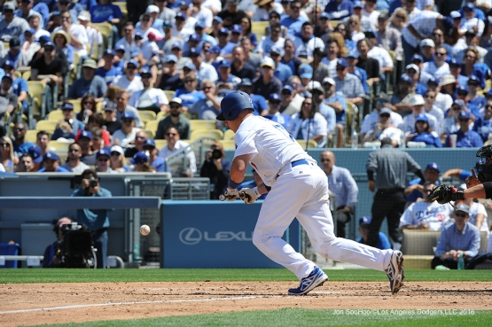 Los Angeles Dodgers A.J. Ellis lays down bunt during game against the Arizona Diamondbacks Tuesday, April 12, 2016 at Dodger Stadium.