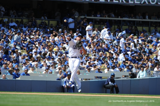 Los Angeles Dodgers Corey Seager throws to first during game against the Arizona Diamondbacks Tuesday, April 12, 2016 at Dodger Stadium.