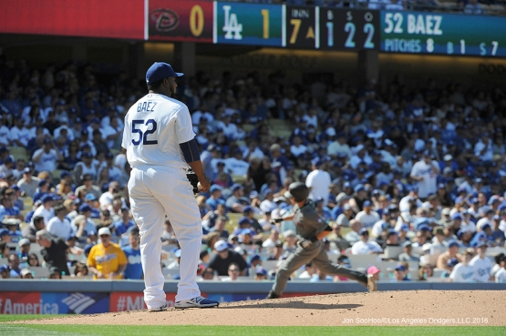 Los Angeles Dodgers Pedro Baez during game against the Arizona Diamondbacks Tuesday, April 12, 2016 at Dodger Stadium.