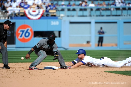 Corey Seager is safe at second during game against the Arizona Diamondbacks Tuesday, April 12, 2016 at Dodger Stadium.