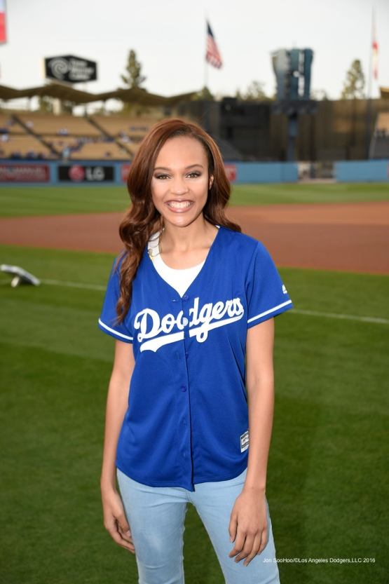 Reign Edwards poses prior to Los Angeles Dodgers game against Arizona Diamondbacks Thursday, April 14, 2016 at Dodger Stadium.
