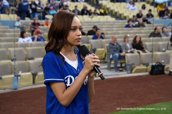 Reign Edwards sings the National Anthem prior to Los Angeles Dodgers  game against Arizona Diamondbacks Thursday, April 14, 2016 at Dodger Stadium.