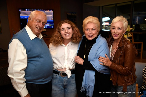 Tommy and Jo Lasorda celebrate their 66th wedding anniversary at the Los Angeles Dodgers game against Arizona Diamondbacks Thursday, April 14, 2016 at Dodger Stadium.
