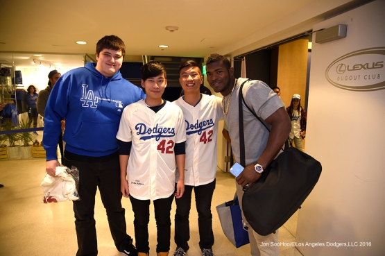Jackie Robinson Day-Los Angeles Dodgers prior to game against San Francisco Giants Friday, April 15, 2016 at Dodger Stadium.