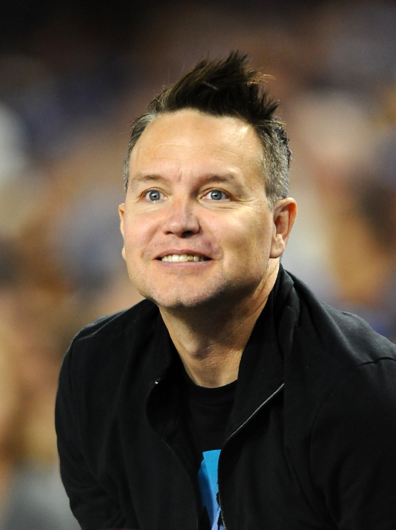 Musician Mark Hoppus watches the game.
