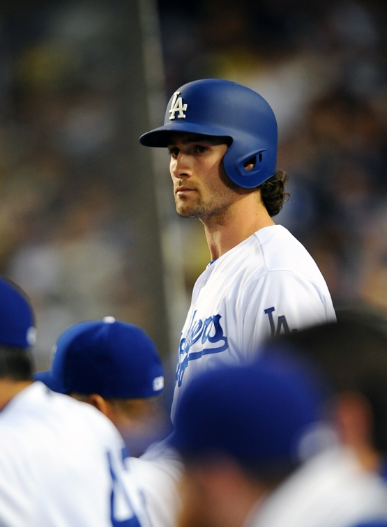 Charlie Culberson looks on from the dugout.
