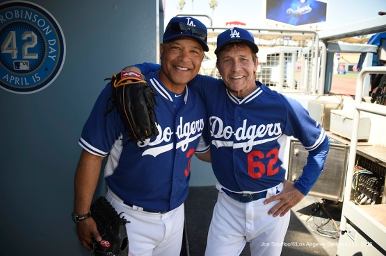 Los Angeles Dodgers Dave Roberts and longtime Dodgers batting practice pitcher Pete Bonfils pose prior to game against San Francisco Giants Saturday, April 16, 2016 at Dodger Stadium.